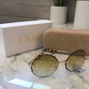 NWT Chloe Gold Gradient Yellow Green Sunglasses